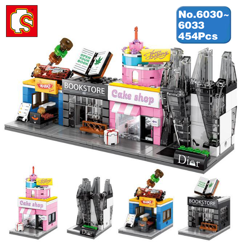 US $17 99 |Sembo Street Barbecue Bookstore Perfume Cake Shop Store 3D Model  DIY Blocks Bricks Diamond Building Toy 4Pcs fit Legoings no Box-in Blocks