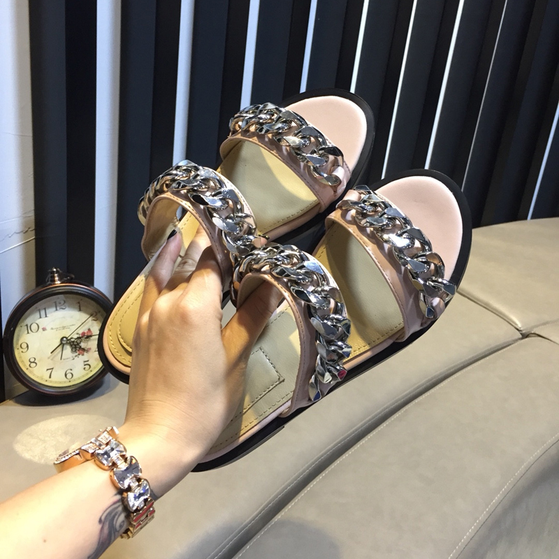 Conception Summer Pic Occasionnels Pantoufles Diapositives Paresseux Plat Hot Chaîne Femme 2018 Cuir Pic As Métal Chaussures Dehors En as x0wqSFx5U