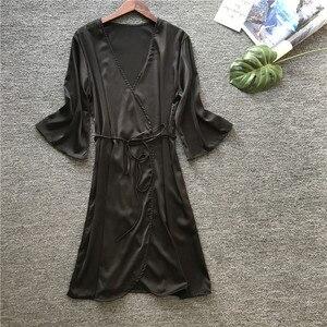 Image 5 - 2019 sommer Sexy Hochzeit Dressing Kleid Frauen Satin Braut Robe Seide Kimono Halb Hülse Bademantel Sommer Brautjungfer Nachtwäsche