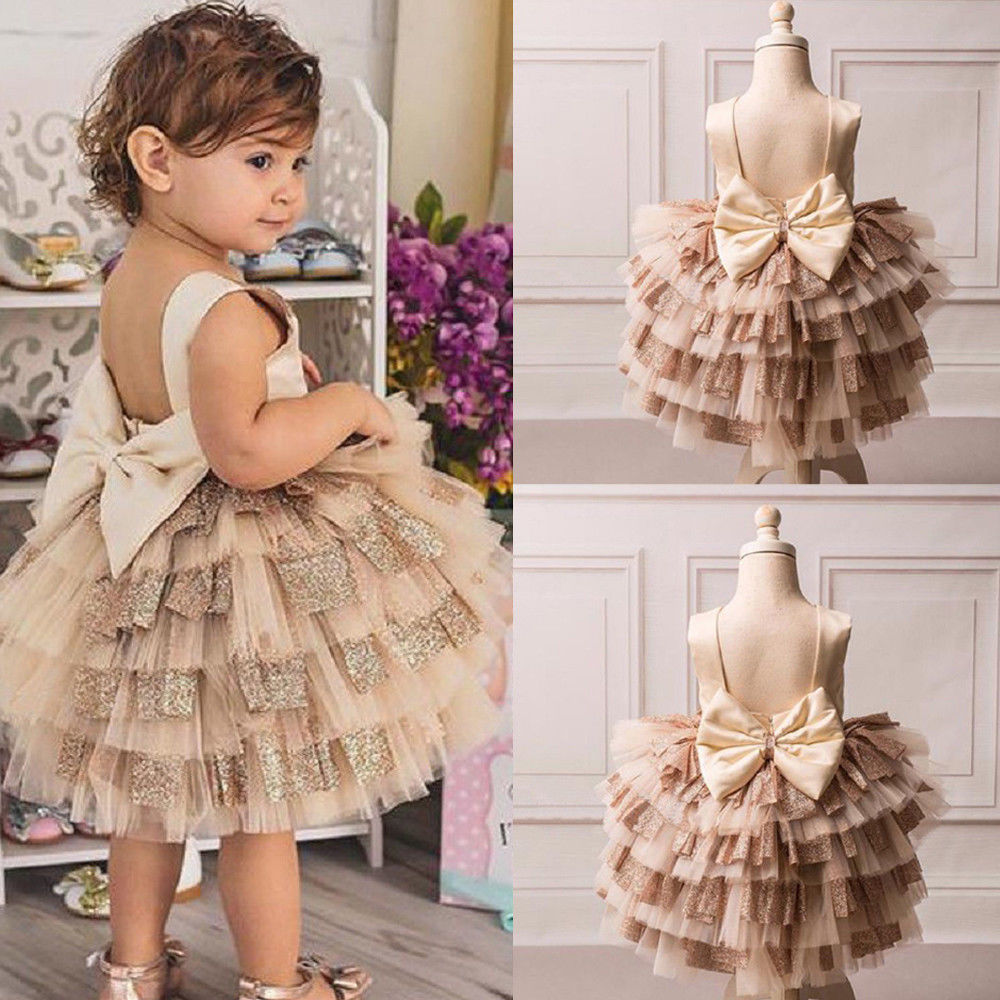 984f34ee58d5a Kids Baby Girl Sequins Boknot Dress Party Dresses Christmas Backless ...