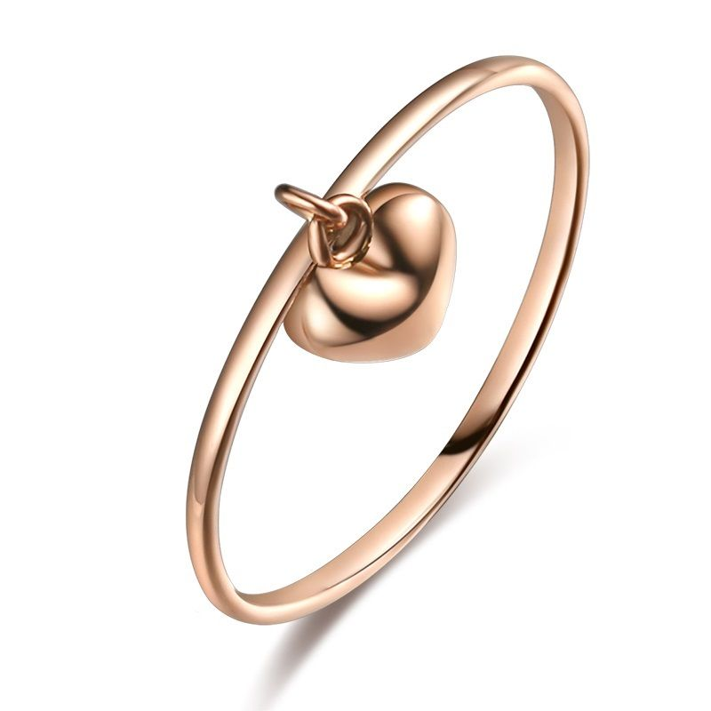 NEW Pure 18K Rose Gold Ring / Smooth Flat Ring with Heart Charm Size: 2NEW Pure 18K Rose Gold Ring / Smooth Flat Ring with Heart Charm Size: 2