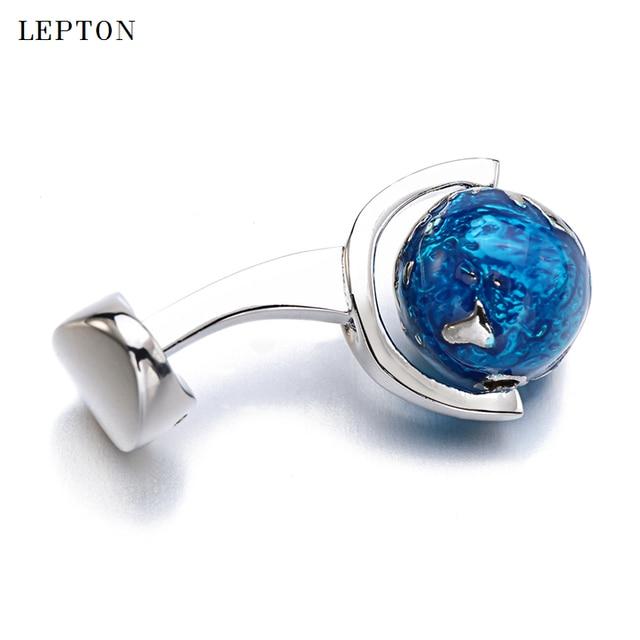 мужские запонки для рубашек вращающийся синий глобус планета фотография