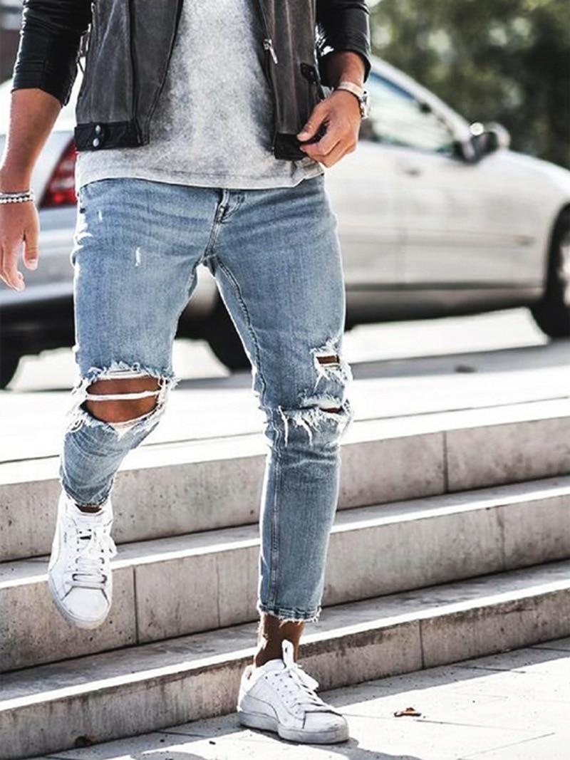 LIYT Mens Fashion Slim Fit Hole Ripped Jeans Denim Pants Trousers