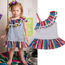 Rainbow Big sister little sister Matching family outfits Clothes One shoulder Jumpsuit Romper tutu ruffle Dress Outfit Summer(China)