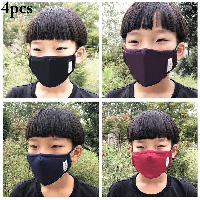 4PCS Kids Children Mouth Masks Activated Carbon PM2.5 Warm Mouth Covers Anti Dust Masks Women Men Cotton Face Cover Mask 1
