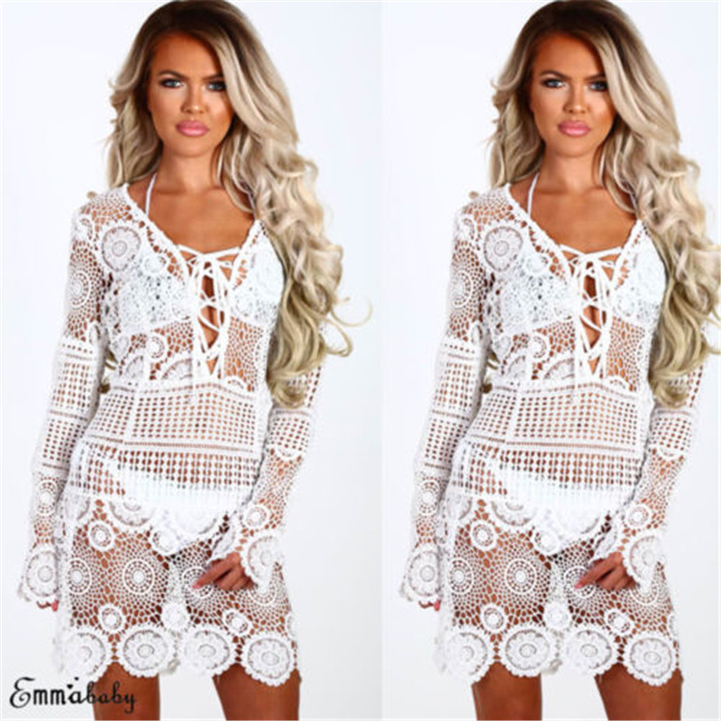 2019 Women Lace Crochet Bandage Bikini Cover Up Swimwear Bathing Suit Summer Clothes Knitted Hollow Sunscreen Shirt Smock2019 Women Lace Crochet Bandage Bikini Cover Up Swimwear Bathing Suit Summer Clothes Knitted Hollow Sunscreen Shirt Smock