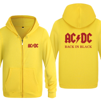 Back In Black ACDC Rock Music Hoodies Men 2018 Men's Fleece Zipper Cardigans Hooded Sweatshirts