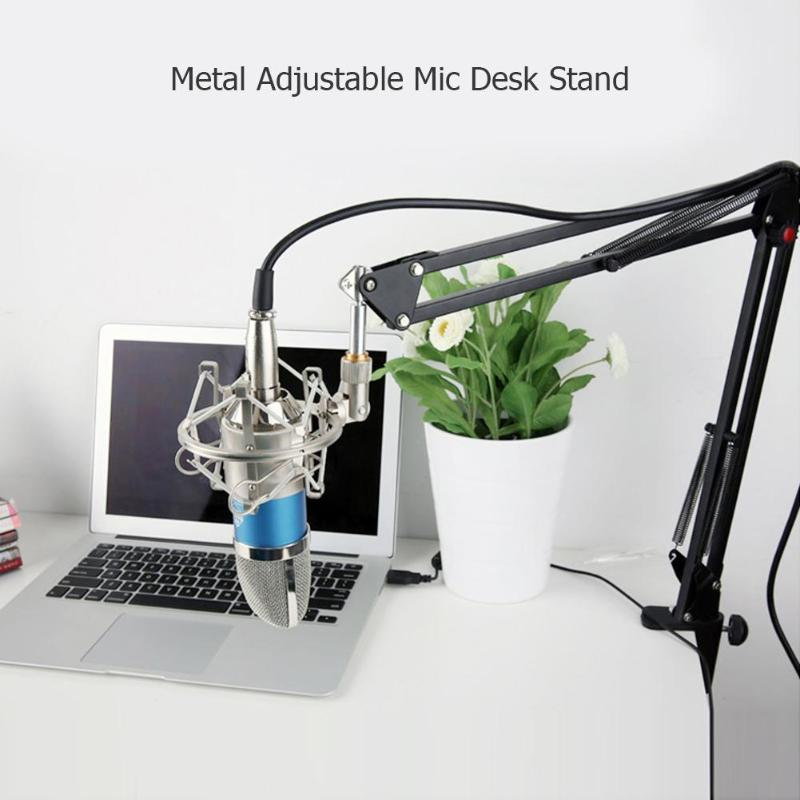 Metal Adjustable Studio Recording Microphone Suspension Boom Scissor Arm Stand Holder With Mic Clip Table Mounting Clamp
