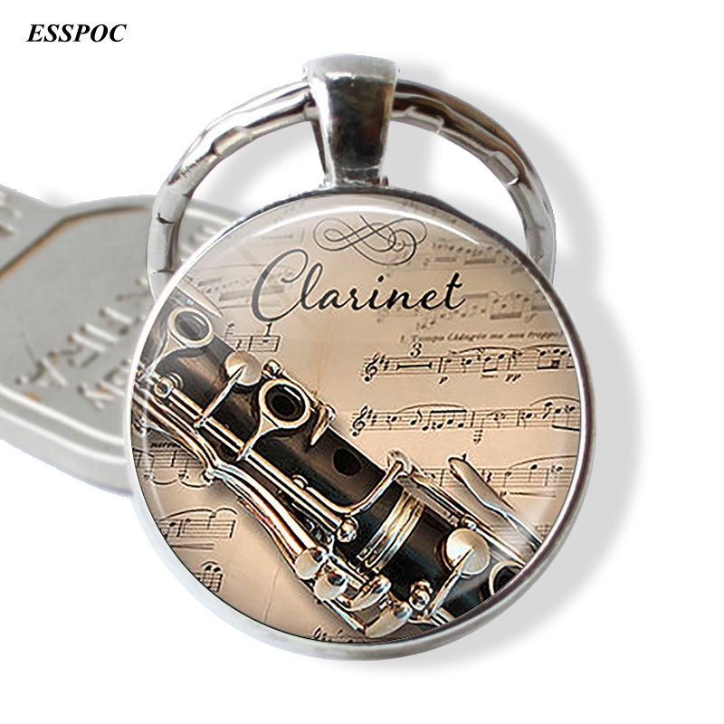 Clarinet And Music Glass Cabochon Pendant Player