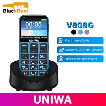 UNIWA V808G 휴대 전화 3G WCAMA SOS 버튼 1400mAh 2.31 인치 화면 노인 핸드폰 손전등 토치 핸드폰 노인을위한