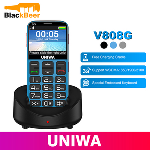 Image 1 - UNIWA V808G Mobile Phone 3G WCAMA SOS Button 1400mAh 2.31 Inch Screen Old Man Cellphone Flashlight Torch Cell Phone For Elderly