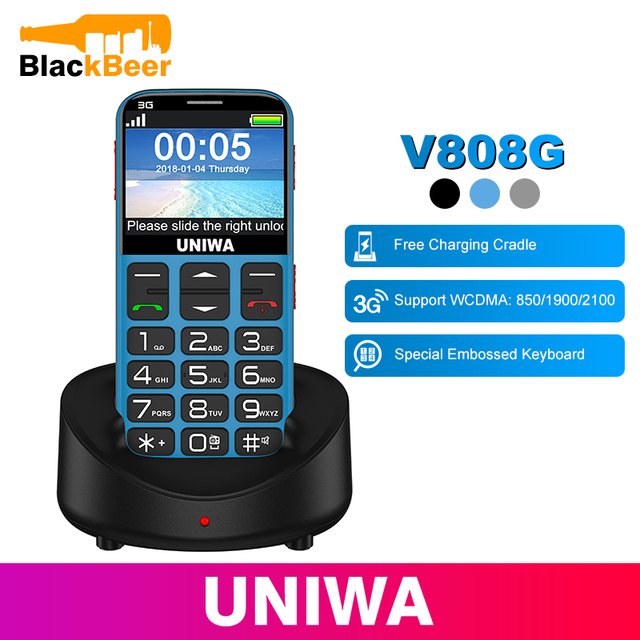 UNIWA V808G Mobile Phone 3G WCAMA SOS Button 1400mAh 2.31 Inch Screen Old Man Cellphone Flashlight Torch Cell Phone For Elderly