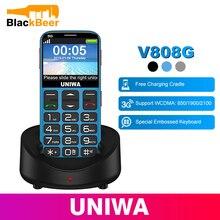 UNIWA V808G téléphone portable 3G WCAMA SOS bouton 1400mAh 2.31 pouces écran vieil homme téléphone portable lampe de poche torche téléphone portable pour personnes âgées