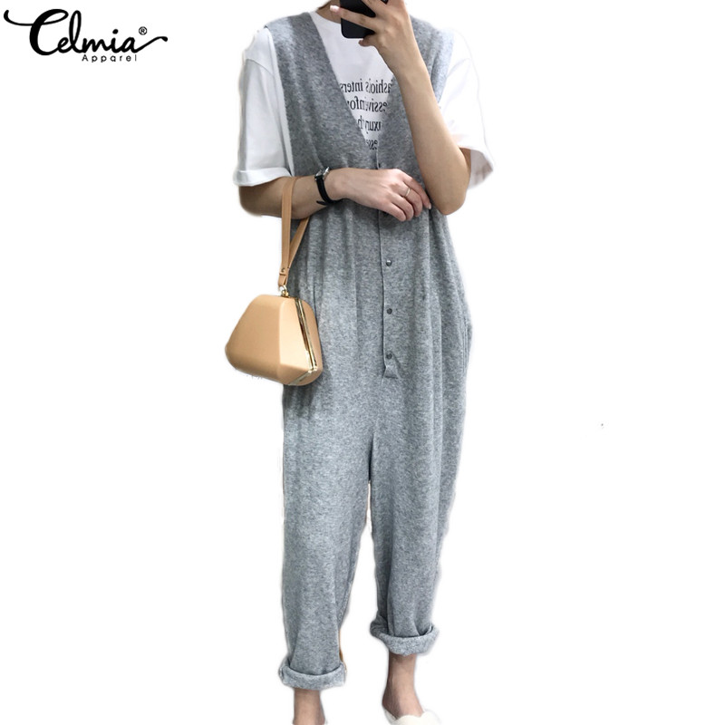 Celmia Plus Size Overalls Long   Jumpsuits   2019 Summer Women Rompers Sexy Sleeveless Playsuits Casual Elastic Buttons Harem Pants