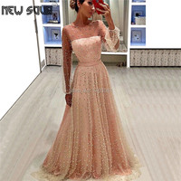 Luxury Pearls Prom Dress Turkish Couture New Evening Dresses Long Robe De Soiree Party Gowns 2019 Arabic Champagne Formal Dress