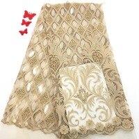 Золотая аппликация вышивка кружевная ткань красивая кружевная цветочная ткань Aso Ebi материал шифоновое кружево RF30101