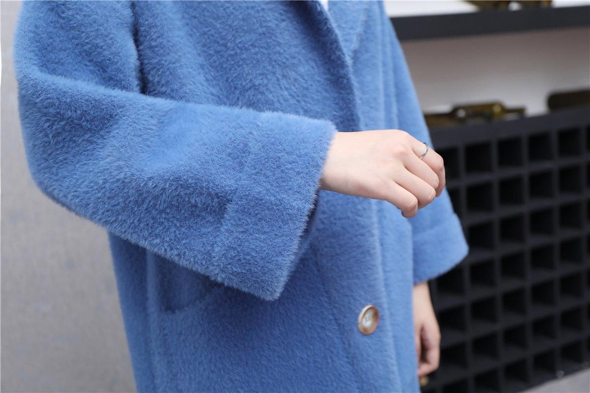 pu Hiver Manteau Blanc Tricoté Vale Pour kaki Femmes coréen Vêtements Mode gris Ciel Moyen Chandail De Et Automne Nouvelle 2018 Long Épais HZCqwSx65