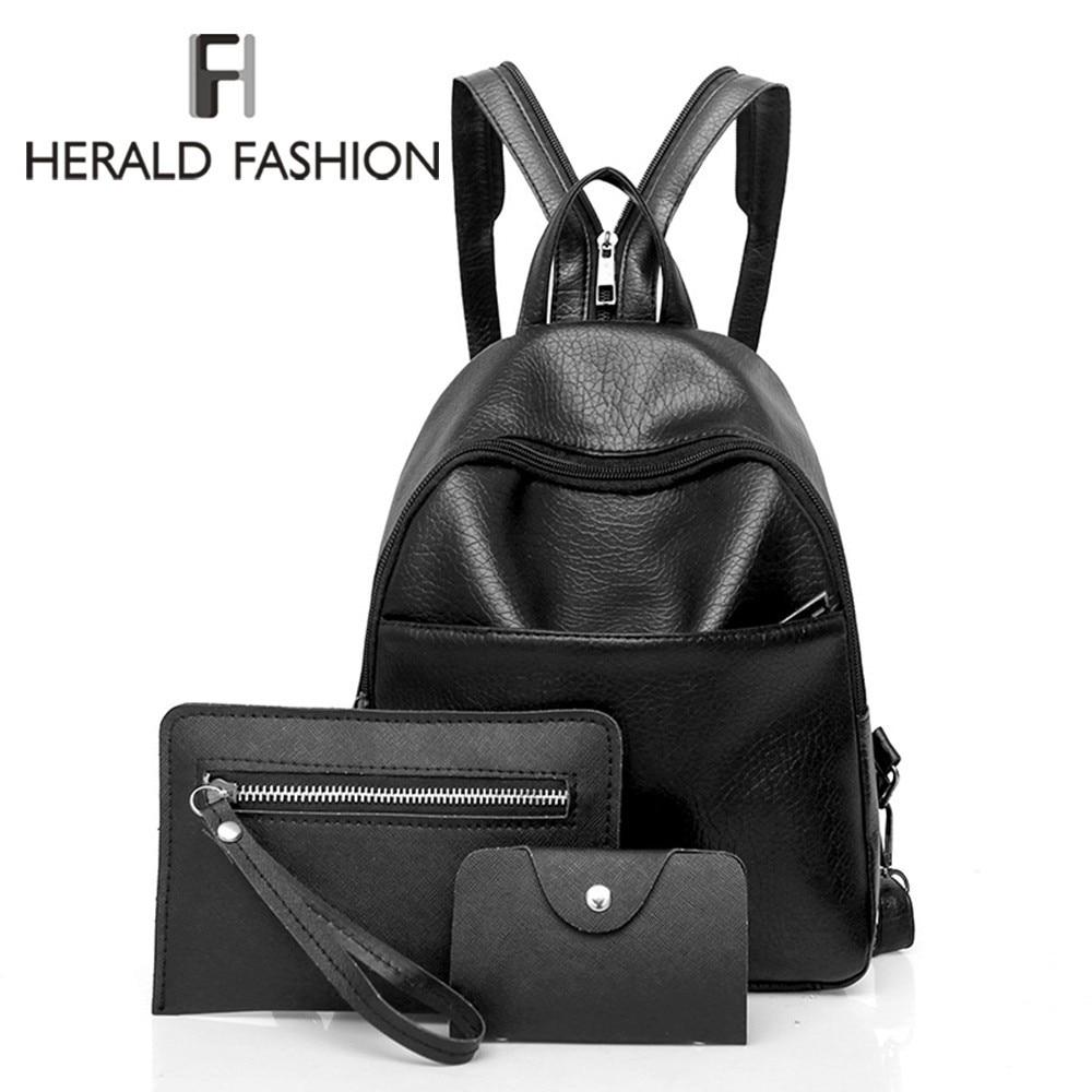 Herald Fashion Simple Women Backpack Quality Leather Backpacks for Teenage Girls Female School Shoulder Bag Bagpack