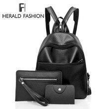 Herald Модные Простые для женщин рюкзак качество кожа рюкзаки для подростков обувь девочек женская школьная сумка mochila Sac