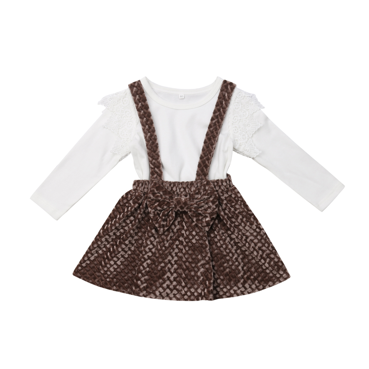 2Pcs Kids Baby Girls Long Sleeve Lace Ruffle T-shirt Solid Tops Suspender Skirts Overalls Outfits Casual Clothes Set