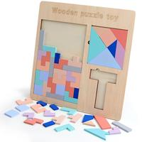 LeadingStar Wooden Tangram + Tetris Puzzle Board + T Letter Puzzle Brain Teaser Colorful Intellectual Board