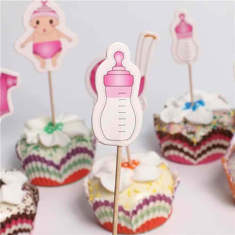 20 stks Baby Thema Cake Cupcake Toppers Decoratie Cake Picks Voor Baby Shower Verjaardagsfeestje (Roze)