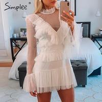 Simplee сексуальное Сетчатое платье в горошек для женщин, белое вечернее платье, летнее облегающее короткое платье с длинным рукавом, элегантн...