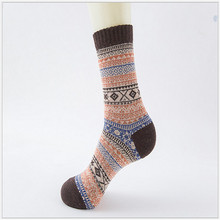 Fashion Causal Men Wool Rabbit Hair Geometric Comfortable Warm Winter Thick Socks Retro Style High Quality One Size