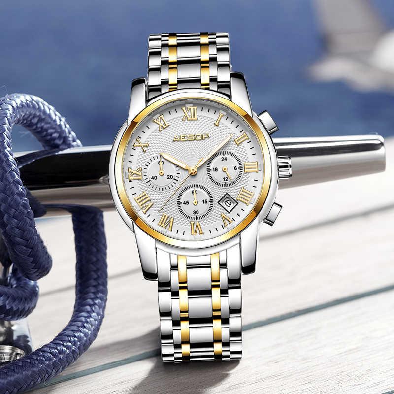 Marki ezopa mężczyźni zegarek kwarcowy zegarki sportowe pasek ze stali nierdzewnej na rękę mężczyzna zegar stoper Relogio Masculino Hodinky 1010g