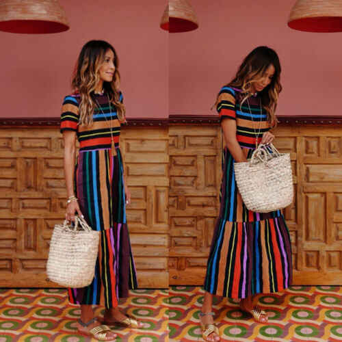Women's Floral Long Maxi Dress Regular Sleeve Evening Party Summer Rainbow Striped Beach Dresses