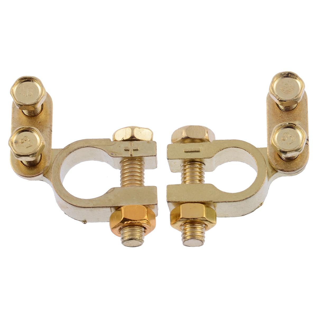 1 쌍 소형 자동차 배터리 단자 클램프 나사 연결 포지티브 및 네거티브 황동 케이블 커넥터 액세서리