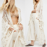 Vinson Fashion Women Plus Size Long Sleeve Perspective Lace Long Cardigan Kimono Beach Swimsuit Cover up White Overall