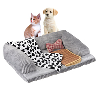 Petacc 70*50cm Detachable zipper Soft Dog Bed Pet Bed Comfortable Dog Lounge with Trilateral Bolster Anti slip Bottom Equipped