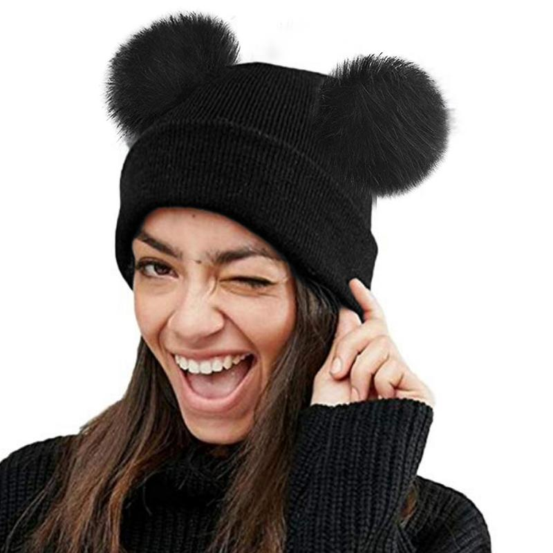 2018 New Women Faux Fur Pompom Hat Female Winter Warm Cap Knitted Beanie Girl Double Ball Pom Pom Hats Woman Bonnet Femme Less Expensive