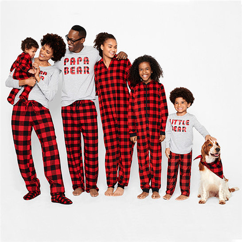 Family Matching Classic Christmas Red Check Plaid Pajamas Set Women Baby Kids Jumpsuit Sleepwear Nightwear Mother & Kids