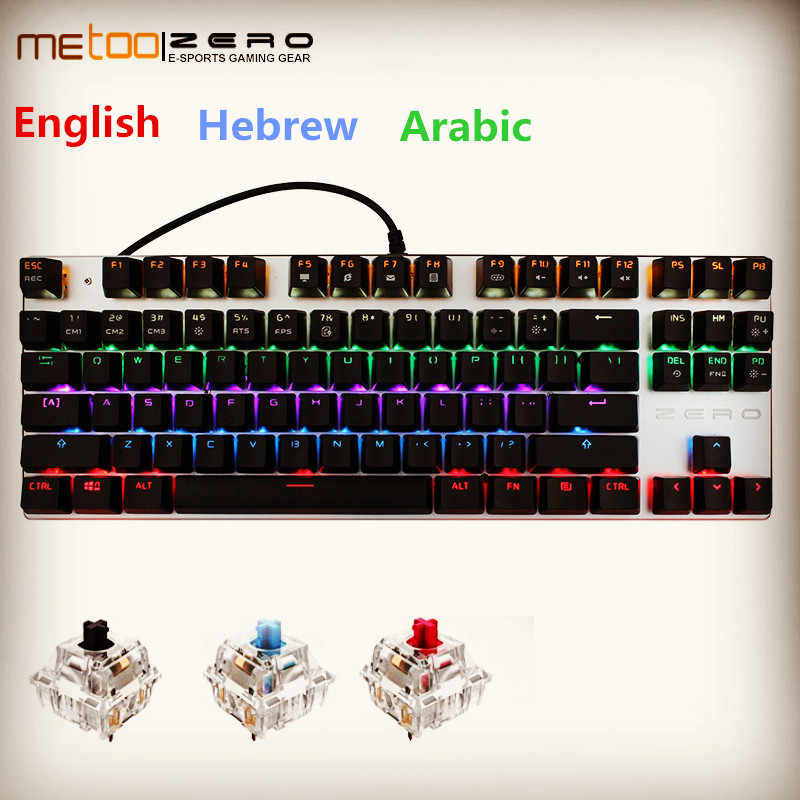 Metoo Edisi Mekanis Keyboard 87 Tombol 104 Tombol Blue Switch Gaming Keyboard untuk Tablet Desktop Bahasa Rusia Bahasa Swedia Ibrani