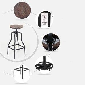 Image 3 - Барные стулья iKayaa, стильные регулируемые по высоте вращающиеся барные стулья, натуральная сосна, верхняя кухня, барная мебель