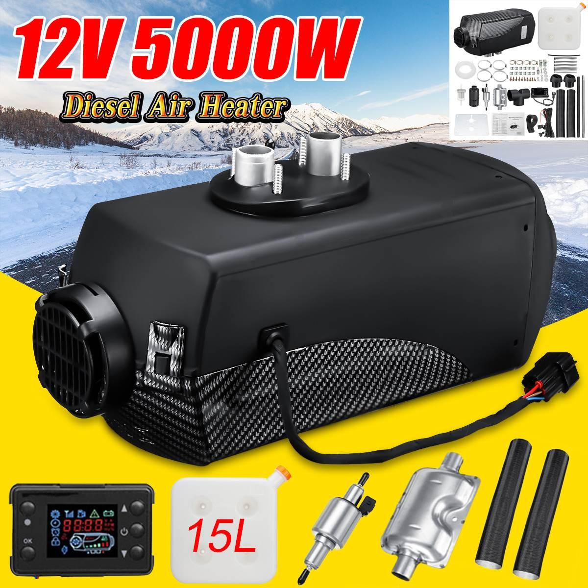 Audew 12 V 5KW radiateur de voiture Diesels réchauffeur d'air écran lcd Interrupteur + 15L Réservoir et Silencieux pour Camions Bus Remorque Camping-Car