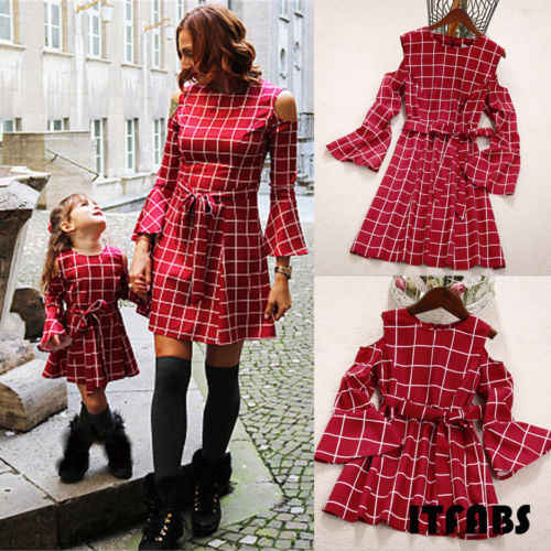 Family Dress Mother and Daughter Matching Plaid Womens Girls Long Sleeve Dress