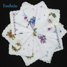 Vintage White Ladies Lace Square Handkerchief Cotton Flowers Women Children Print Face Hand Towels Hanky Wedding Gifts 10pcs/lot