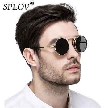 SPLOV Vintage Steampunk Flip Up Men Sunglasses Women Retro Round Metal Frame Sun Glasses Hinge Design Curved Glasses Legs UV400