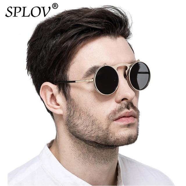 68e2513f89 SPLOV Vintage Steampunk Flip Up Men Sunglasses Women Retro Round Metal Frame  Sun Glasses Hinge Design Curved Glasses Legs UV400
