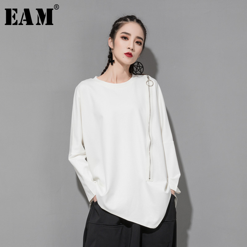 [EAM] 2020 New Spring Autumn Round Neck Long Sleeve Black Oblique Zipper Irregular Hem Big Size T-shirt Women Fashion Tide JQ706