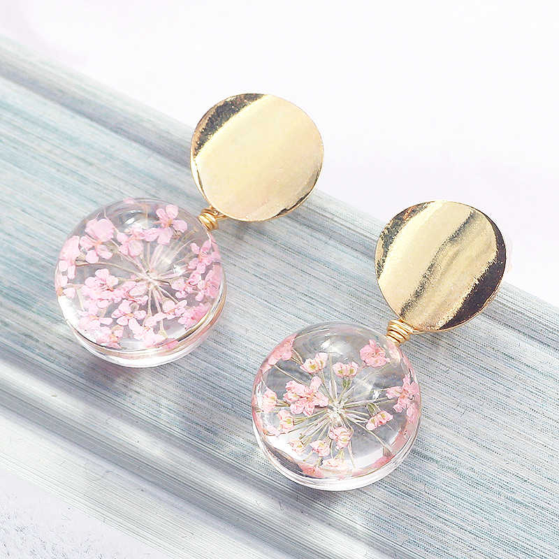 Starry Sky Girls Allergy Free Sequin Women Gold Color Clear Transparent Ball Korean Earring 1Pair 2018 New Arrival