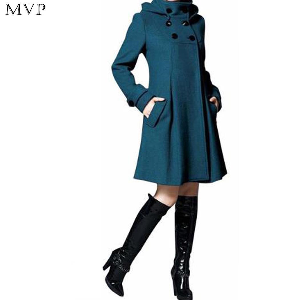 Fashion 2018 Coat Coat Long Woolen Slim Jacket Wool A-line Winter Multi-size Medium Women Autumn Warm Coat