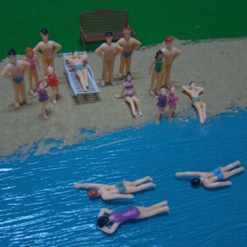 20PCS Swimming Figures Model 1:50 Painted Plastic Beach People