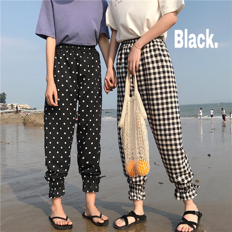 Lychee Girls Spring Autumn Women Harem   Pants   Dot Plaid Elastic Wasit Ankle Length Trousers Causal Loose   Wide     Leg     Pants