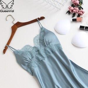 Image 5 - Queenral 2pcs Womens Sleep Lounge Robe Gown Sets Sleepwear Womens Sleep Set Femme Lingerie Set Nightwear Lace Homewear