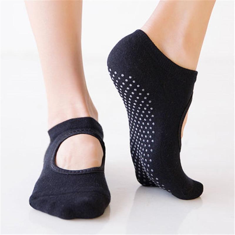 1 Pair Women Soft Socks Gym Pilates Ballet Cotton Toe Socks Girls Fitness Sport Socks Anti Slip Breathable Elastic