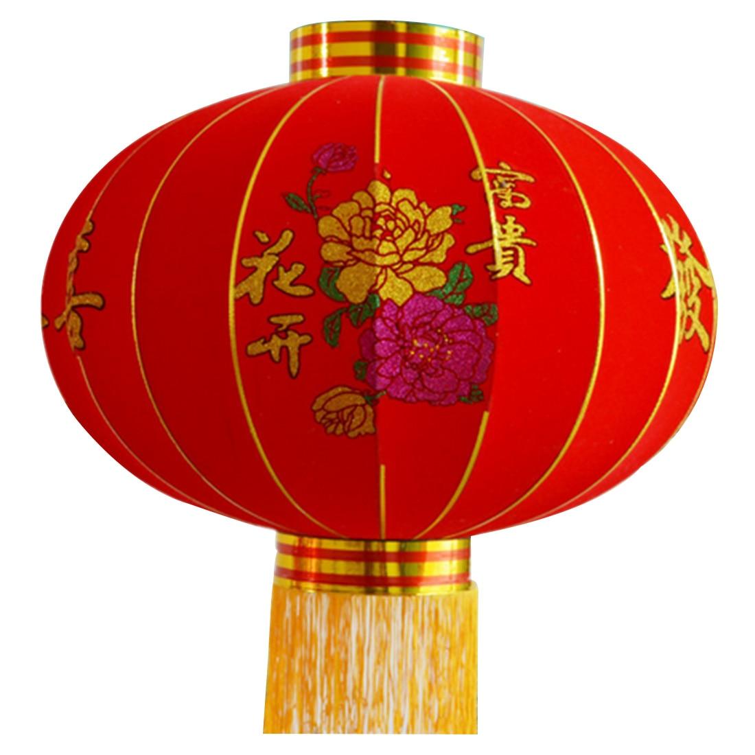 Drop Sale Round Big Red Lantern Flocking Cloth Outdoor New ...